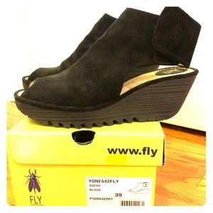 Fly London Black Peep-Toe Wedges, Size 39 / 9